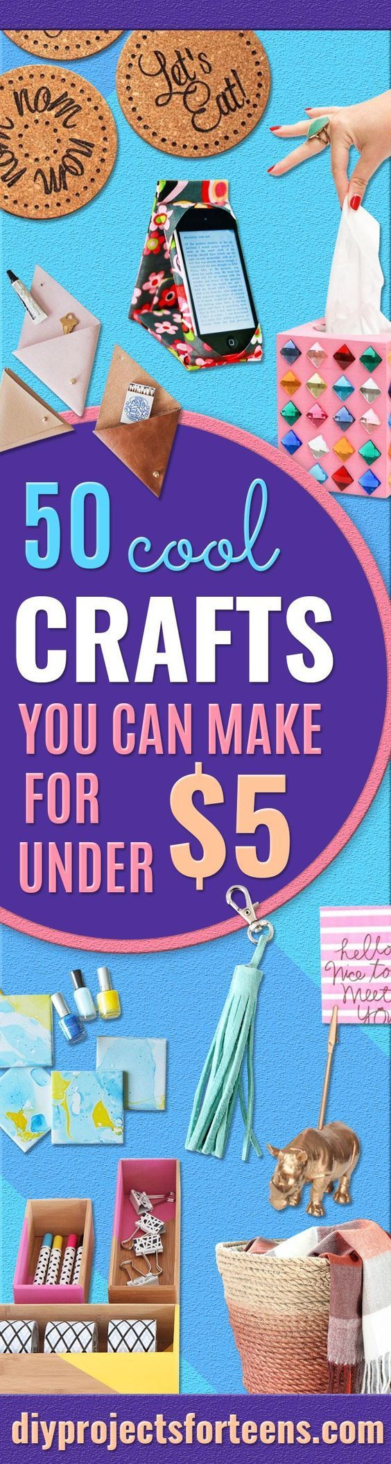 Cheap Crafts for Teens - Inexpensive DIY Projects for Teenagers and Tweens - Cute Room Decor, School Supplies, Accessories and Clothing You Can Make On A Budget - Fun Dollar Store Crafts - Cool DIY Gift Ideas for Christmas, Birthdays, BFF gifts and more -