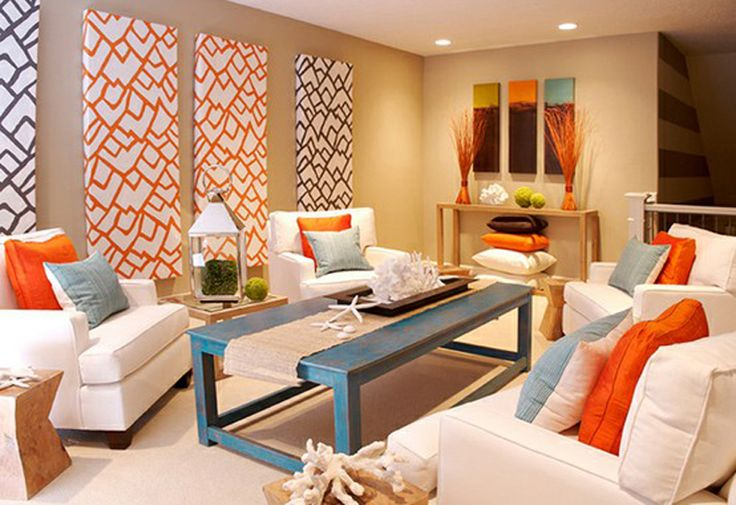 Colorful Coastal Living Room at Awesome Colorful Living Room Design Ideas \ I like the tan walls with blue and orange accents. Might also work with yellow accents.