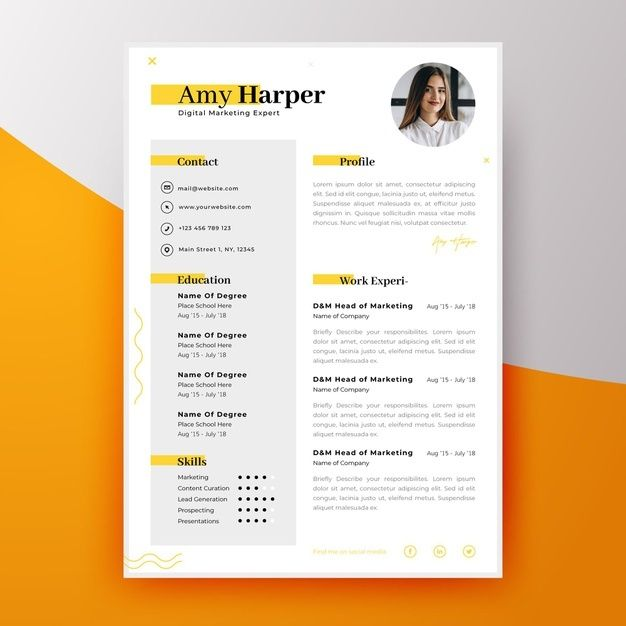 Download Modern Curriculum Vitae Template For New Employee For Free Curriculum Vitae Template Resume Design Template Graphic Design Resume