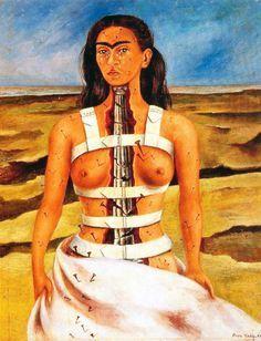 """Frida Kahlo, """"Coluna Rota"""" (1944)   Aos 18 anos, Frida sofre um grave acidente: o bonde em que seguia colide com um trem, deixando-a meses entre a vida e a morte devido ao pára-choque que atravessou seu pélvis. O acidente deixou severas marcas a Frida, que teve que viver a partir de então com fortes dores no corpo e coletes ortopédicos.nesse quadro em que Frida se retrata com a coluna mutilada e o corpo coberto de pregos: a sua dor torna-se tão visível que é possível ao admirador senti-la"""