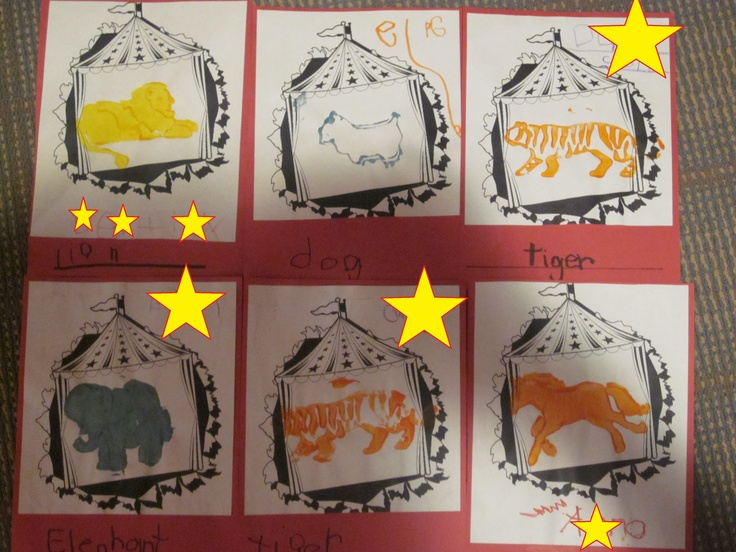 Circus Animal Preschool Craft * using wallpaper stamps and cookie cutter animal shapes
