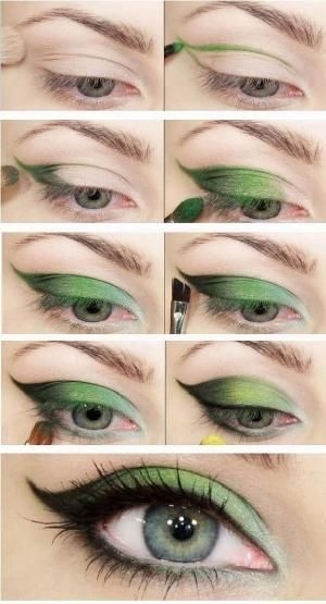 Nature Green Eye Shadow Makeup Tutorial.. the color wouldn't work for me, but I like how it's done