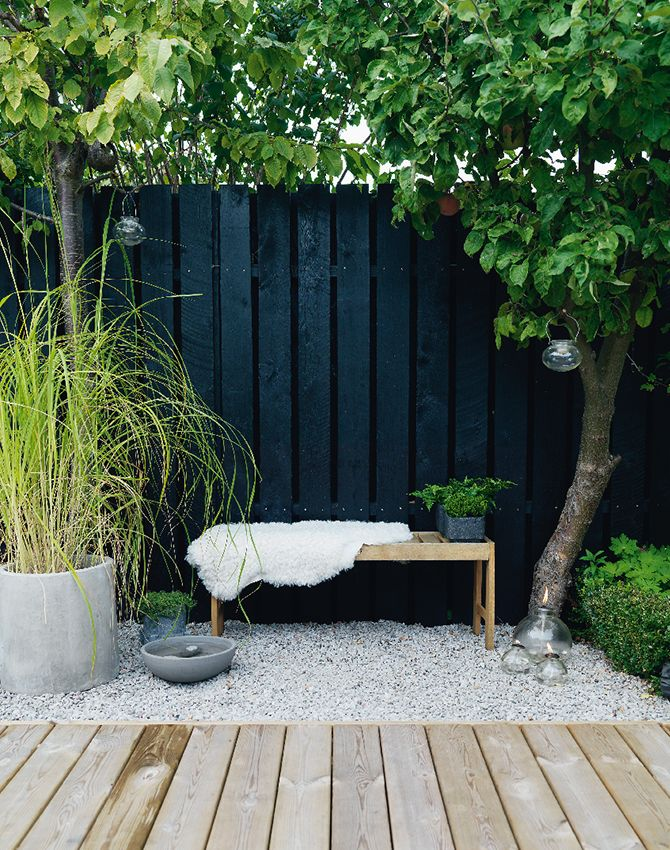 Black lifts the greens in a back garden. A hot tip is to use Alcro Black Deco…