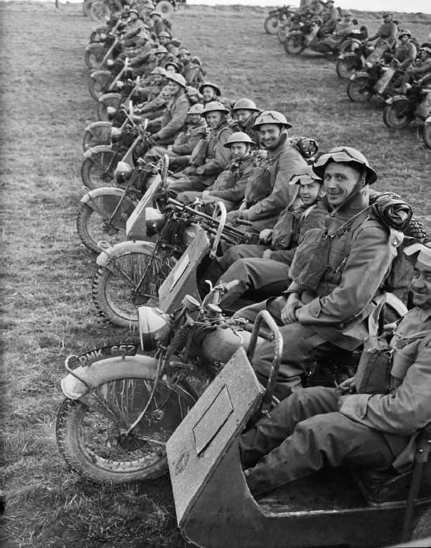 "Motorcycles of the 4th Northumberland Fusiliers at Fontaine, France - 20 March 1940 -part of the British Expeditionary Forces (BED) that were part of the ""Phoney War""."