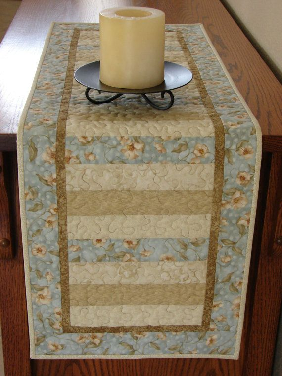 Quilted Table Runner in Soothing Blue and Cream via Etsy - oooh, now this might be the right style for my xmas fabric.