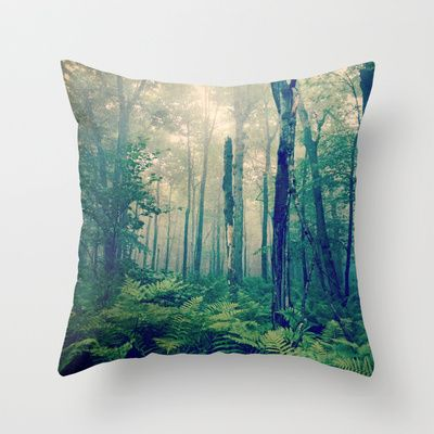 Walk to the Light Throw Pillow - college dorm decor, trees, green, cottage chic decor, rustic