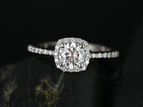 Barra Ultra Petite Size 14kt White Gold Thin Round FB Moissanite Cushion Halo Engagement Ring (Other Stone and Metals Available)