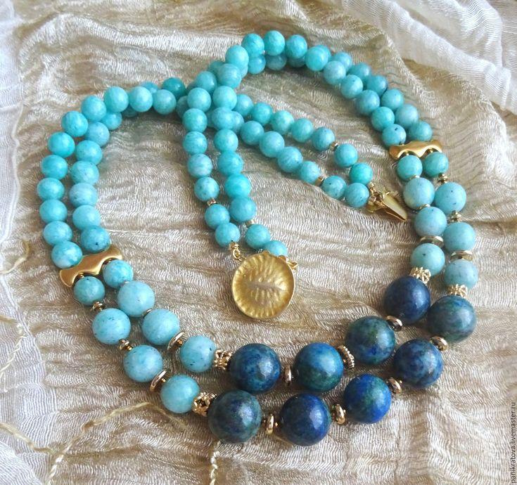 """Купить Колье """"Лазурный берег"""" (амазонит, азурит) - бирюзовый, лазурный, голубой, тёмно-синий"""
