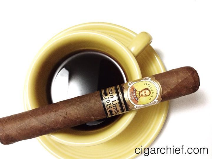 The fantastic Bolivar Super Corona - Edicion Limitada 2014!  (And some coffee)  Get yours at cigarchief.com!