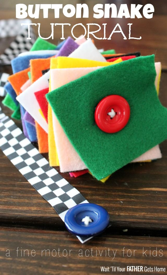 Make an easy to assemble button snake for your little ones to practice fine motor skills via Wait 'Til Your Father Gets Home #toddler #presc...