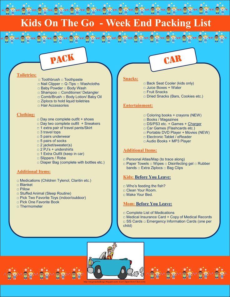 free printable kids week end getaway packing listincludes car entertainment packing