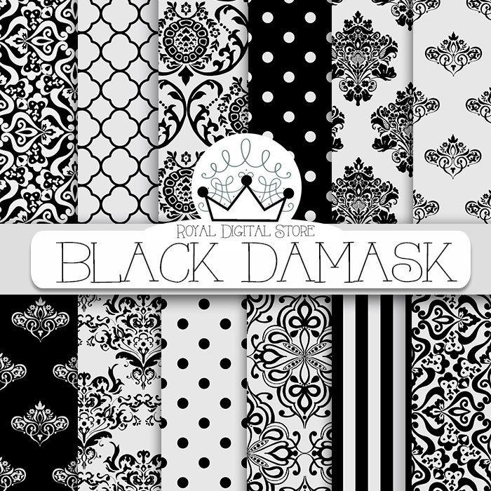 """Damask Digital Paper: """" Black Damask"""" with black damask background, black damask pattern, black quatrefoil #black #white #damask #planner #digitalpaper #wedding #scrapbookpaper"""