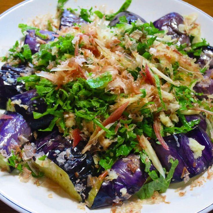 今日の夕食は茄子のタタキ 高知県は茄子の生産量日本一 その中でも安芸市は最も多く作っているので茄子のタタキは家庭料理の定番 #茄子のタタキ #なす #たたき…
