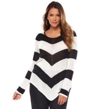 Jennifer Lopez Striped Lurex Sweater - Women's Plus Size