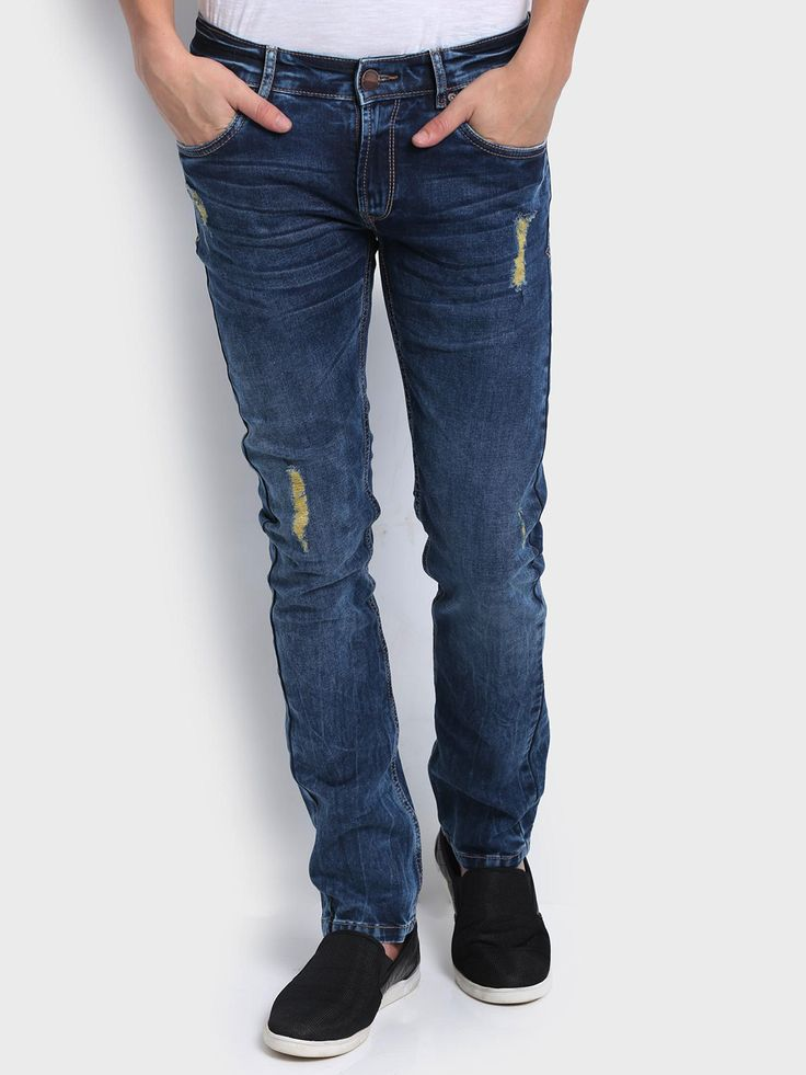 Spykar Plain Denim Blue Casual Wear Men Skinny Fit Jeans