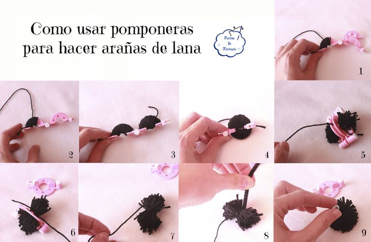Como hacer pompones con lana usando pomponeras para hacer arañas - Tutorial Corona monstruosa de fieltro para Halloween