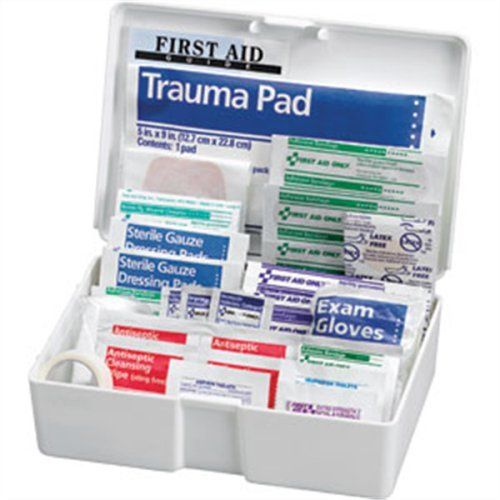 "81-Piece All-Purpose Medical Kit, Plastic Case by Logistics. $10.28. Model Number FAO130F - Kit Includes: - (20) 3/4"" X 3"" Adhesive plastic bandages - (10) 3/4"" X 3"" Fabric bandages - (5) 1"" X 3"" Adhesive plastic bandages - (1) 2"" X 4"" Elbow and knee plastic bandage - (5) 3/8"" X 1.5"" Junior plastic bandages - (1) 1.5"" X 1.5"" Patch plastic bandage - (10) 7/8"" Spot plastic bandages - (3) Butterfly wound closures - (4) 2"" X 2"" Gauze dressing pads - (1) 5"" X 9"" Trauma pad -..."