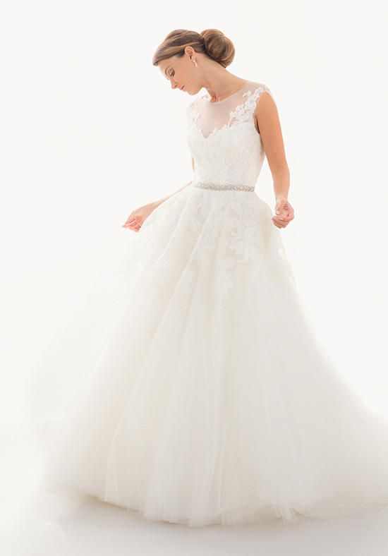 Alencon and Tulle Gown with Full A-Line Skirt, Illusion Neckline | Judd Waddell | https://www.theknot.com/fashion/titania-judd-waddell-wedding-dress