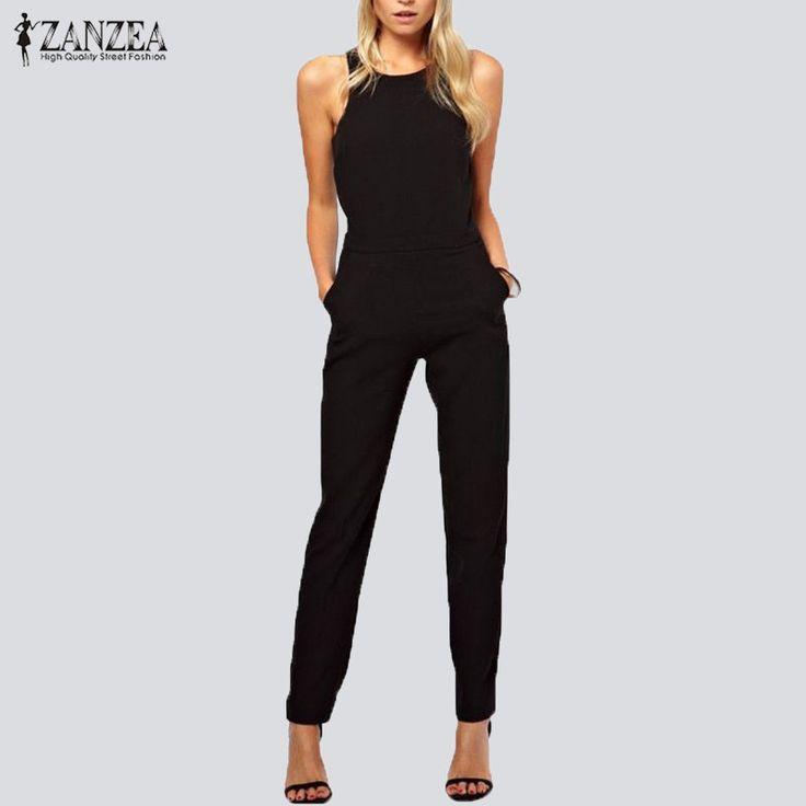 ZANZEA 2016 Summer Rompers Womens Jumpsuit Sexy Ladies Casual Elegant Sleeveless Long Trousers Plus Size Overalls on http://ali.pub/1mzvi