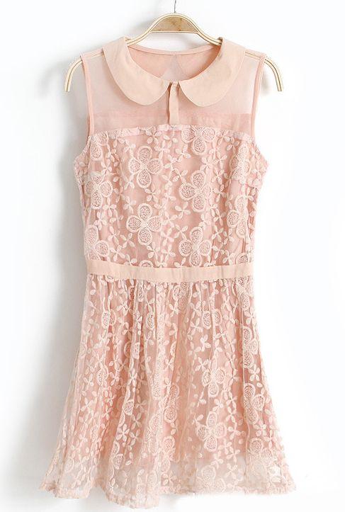 Pink Lapel Sleeveless Lace Embroidery Chiffon Dress