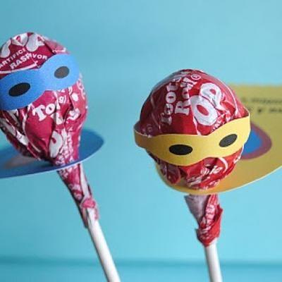 Superhero lollipop printable