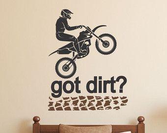 Motocross Wall Decal Dirt Bike Decor Motocross Decor Dirt Etsy In 2021 Motocross Decor Wall Decals Bike Room
