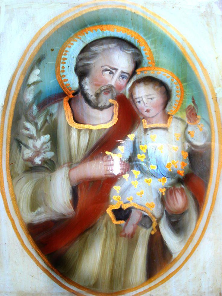 giuseppe con Bambino (G)Pittura su vetro  cm 40x30