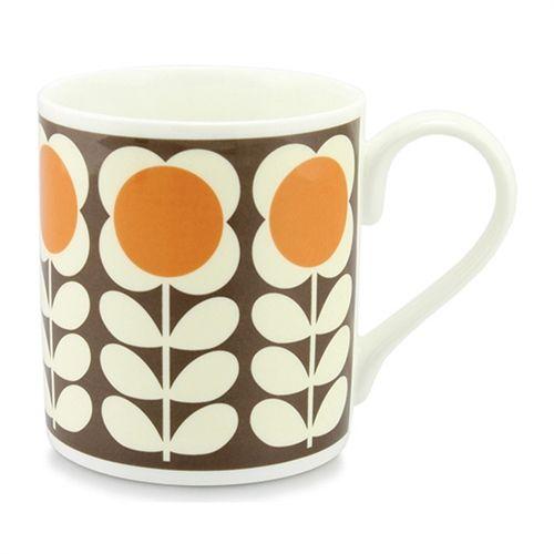 poppy square orange Mug Cup by Orla Kiely bone china