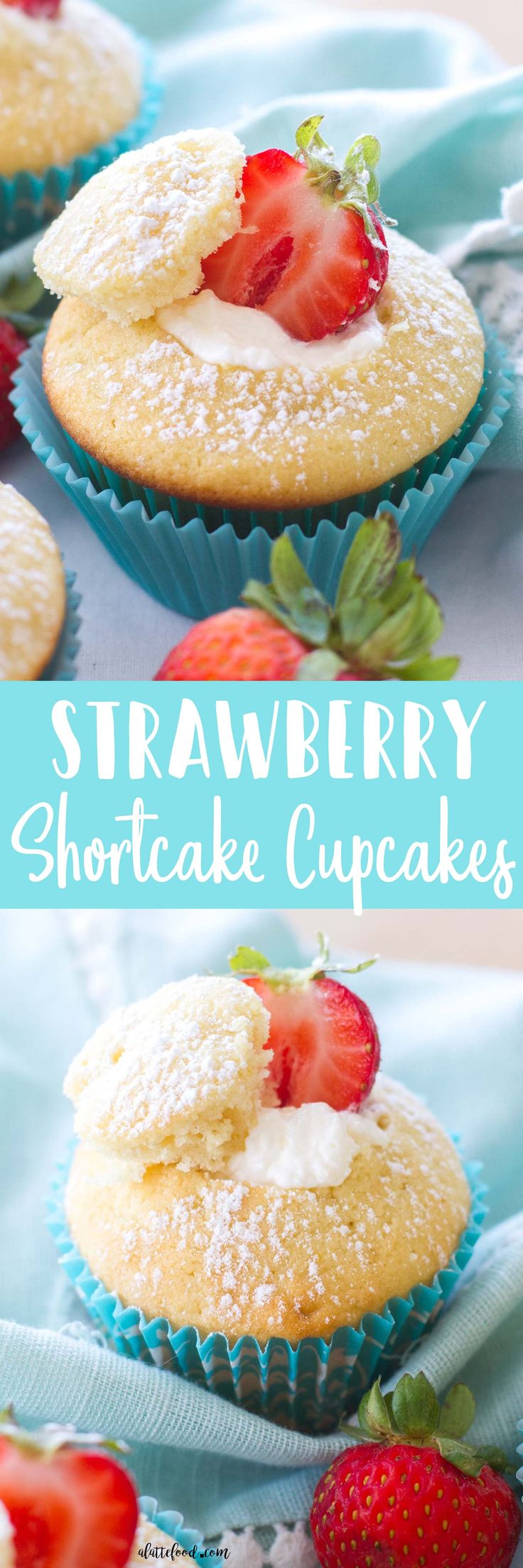 These easy strawberry shortcake cupcakes are light, fluffy, and filled with a homemade whipped cream frosting! Homemade strawberry shortcake cupcakes are such an easy spring dessert! Plus, these would be so cute as a Valentine's Day dessert!