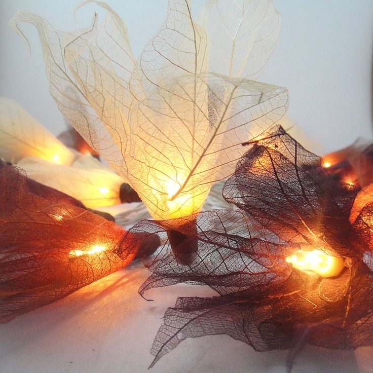 20 Earth Tone Bodhi Leave Flower Fairy Lights String 3.5M Home Accent Floral Party Patio Wedding Floor Table or Hanging Gift Home Decoration. $13.47, via Etsy.