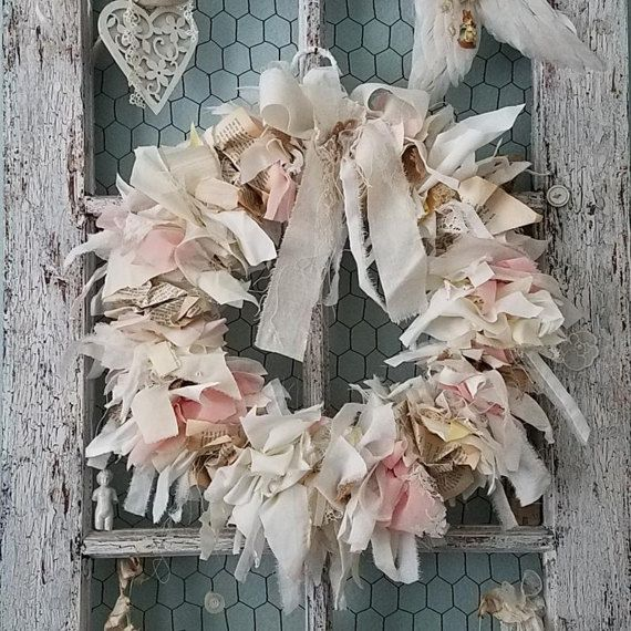 Dusks Glow - Abandoned Vintage Burlap, Lace and Fabric Rag Shabby Chic Wreath for Wedding, Nursery, Easter, and Home Decor  48