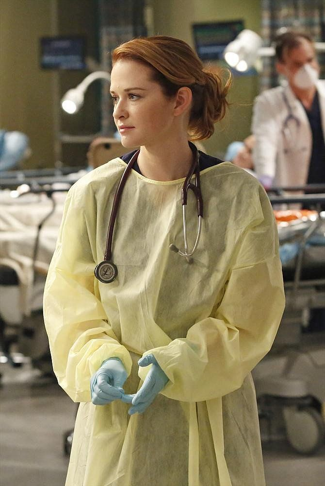 Sarah Drew on the season 10 finale of Grey's Anatomy.