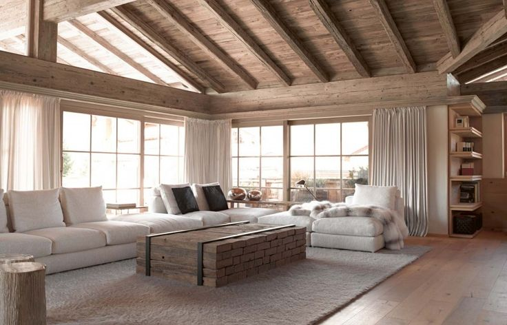 "Modern Cabin Interior Design greys and light wood colors blends and a ""modern rustic"" look as"