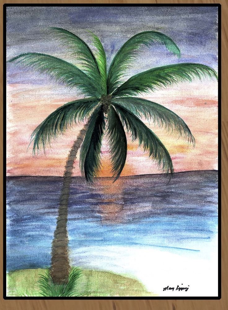 Sunset palm tree art floor mat