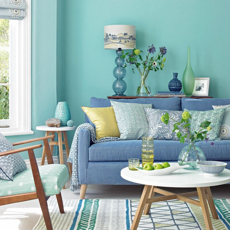 spearmint living room with denim sofa and lime accents. Black Bedroom Furniture Sets. Home Design Ideas
