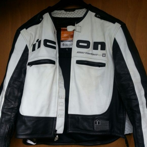 "Womens black and white ICON jacket ICON womans black & white ""Asphault technologies"" moto jacket ICON Jackets & Coats"