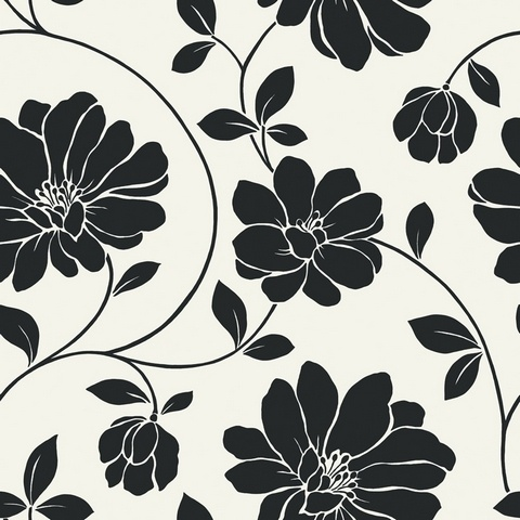 Visit The Home Depot To Buy Wallpaper Company 10 InW Black And White Large Scale Retro Floral Sample