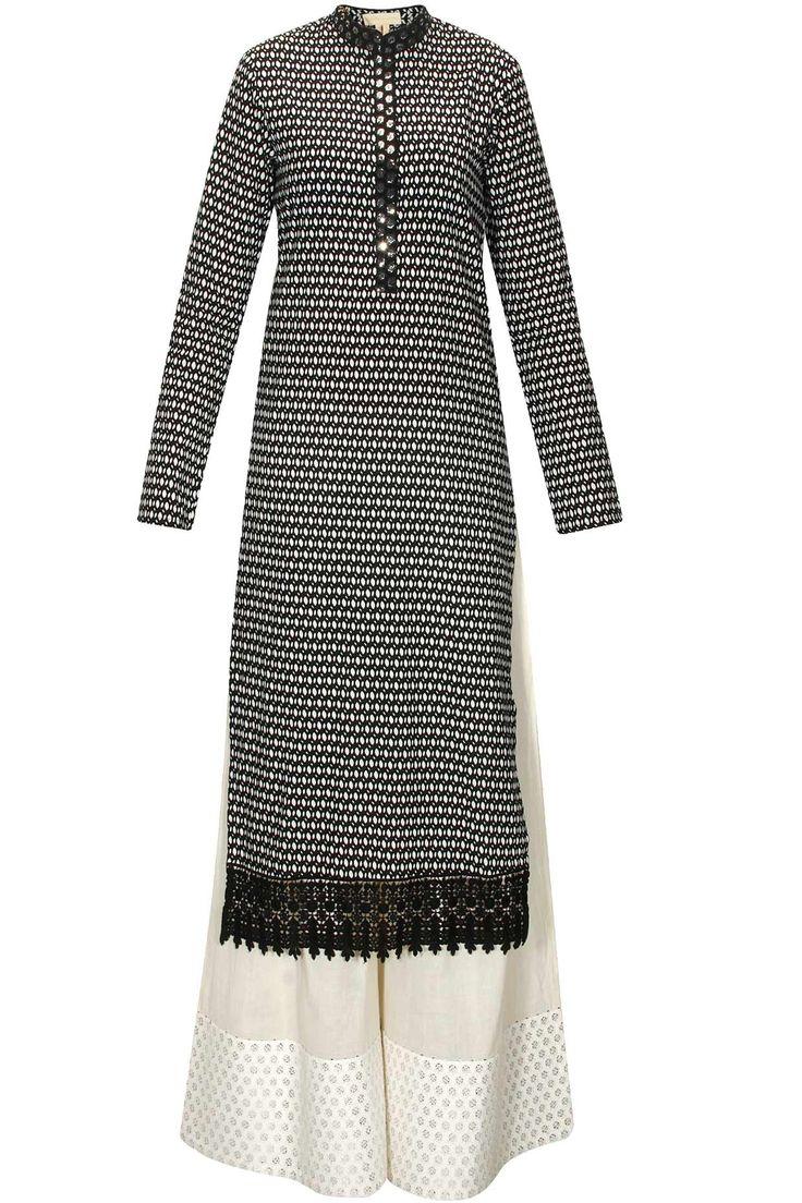 Black printed kurta with cream cotton pants by Vikram Phadnis. Shop now: www.perniaspopups.... #vikramphadnis #kurta #clothing #ethnic #perniaspopupshop #shopnow #happyshopping