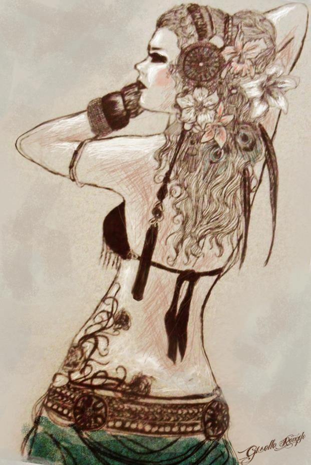 Tribal dancer illustration hand drawing