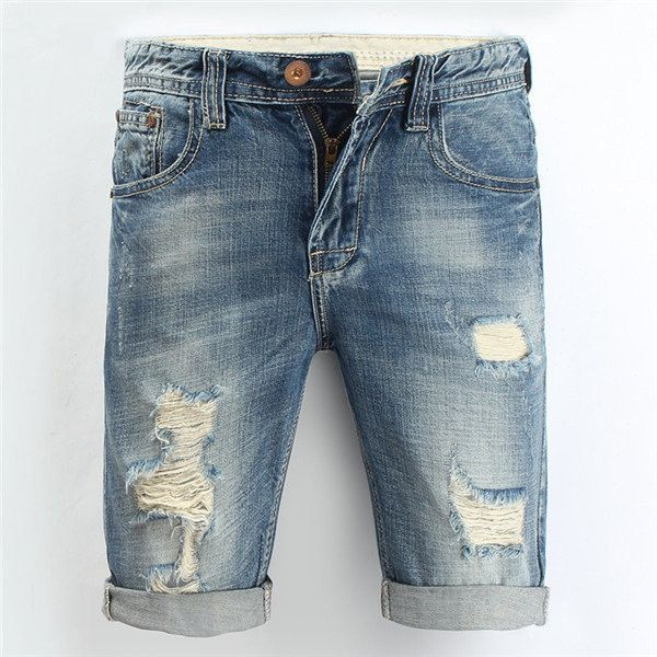 Summer Overknee Stylish Worn Hole Jeans Washed Denim Shorts For Men ($29) ❤ liked on Polyvore featuring men's fashion, men's clothing, men's jeans, men, mens flap pocket jeans and mens blue jeans