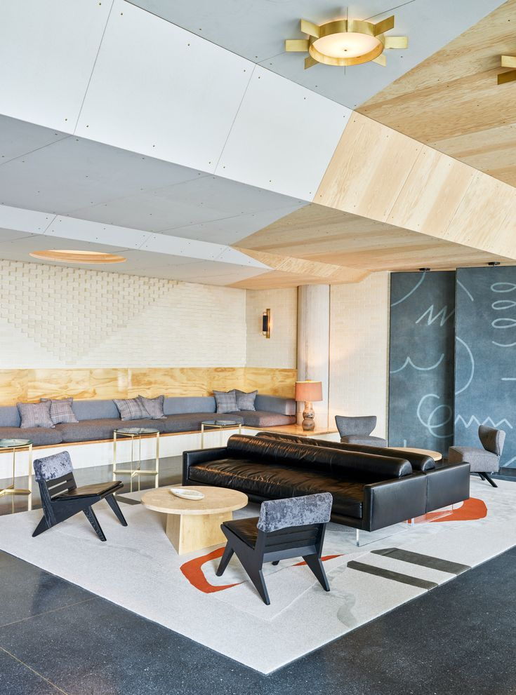 Los angeles studio commune design has used vibrant modernist furnishings to decorate the ace hotel in
