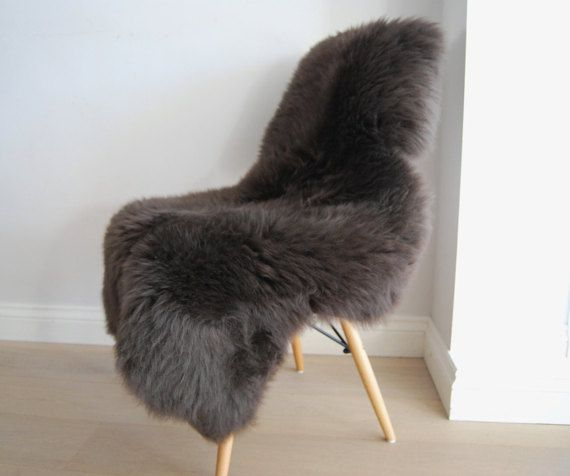 British Grey Sheepskin Rug in Mink Brown/Grey Luxuriously thick and soft fleece Throw by Swedishdalahorse #TrendingEtsy
