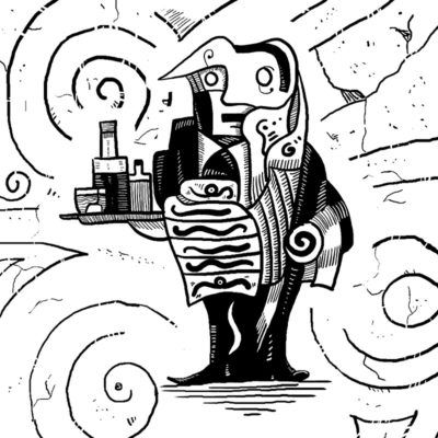 #Surrealism style black and white #drawing of a waiter who serves drinks. Surreal waiter is #alien like character from world of #unconscious. #Primitive #surrealism