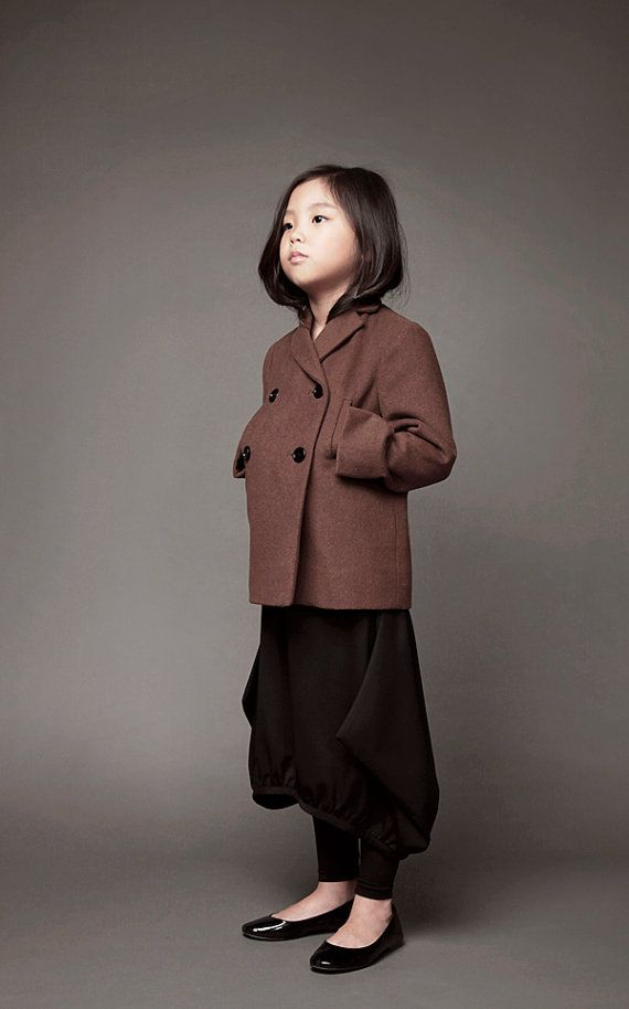 Girl's wool short coat - Shiho Shi