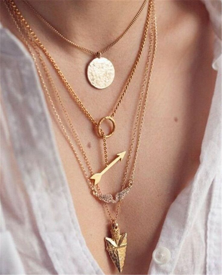 Gold charm choker necklace 4 layers [arrow/pendant/wings/spear]