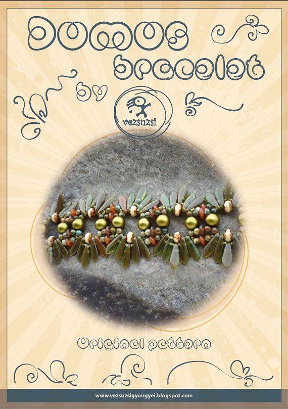 Bracelet tutorial / pattern Domos bracelet with dagger beads...PDF instruction for personal use only- tutorial with dagger beads