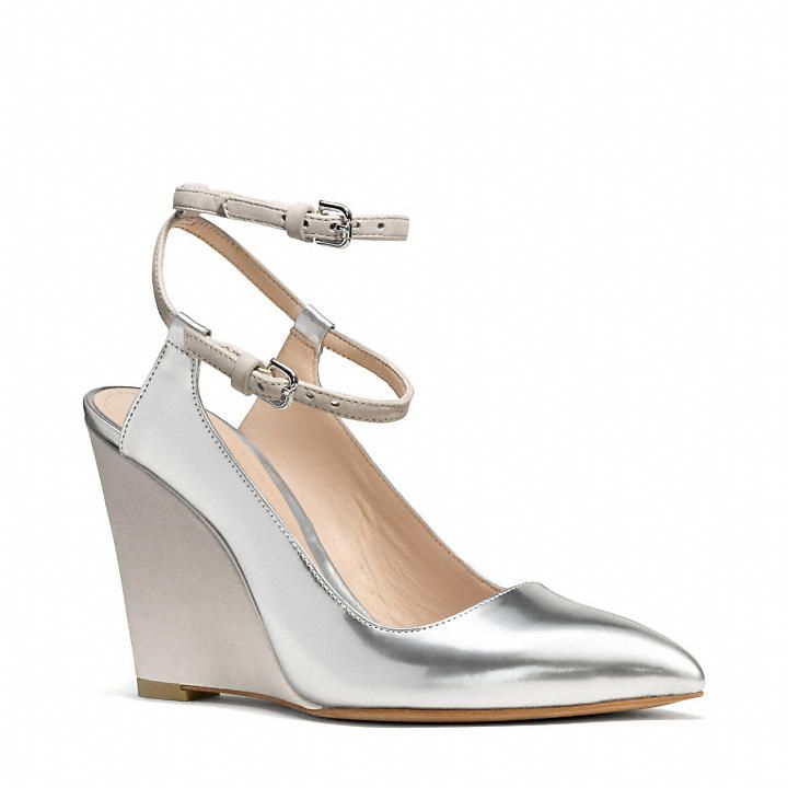 The Ollie Wedge From Coach Forget White This Spring Summer Go For Silver Shiny Bright To Pop All Jumpsuits And Flowy Dresses Of Season