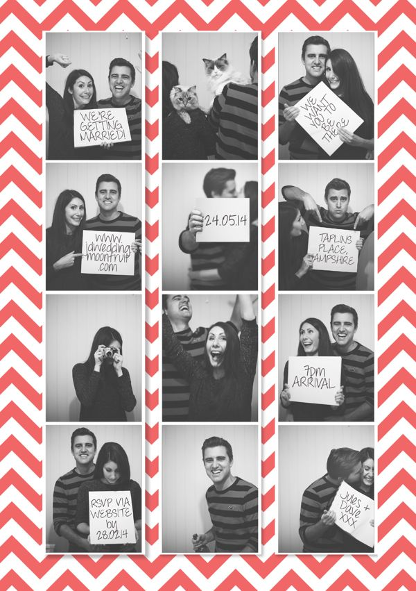 Photobooth Chevron Wedding Save The Date on Behance
