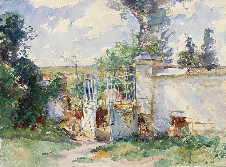 John Singer Sargent (1856 — 1925, USA) The Gates of a Château, Ransart. 1918 watercolour on paper. 39.3 x 53.3 cm.