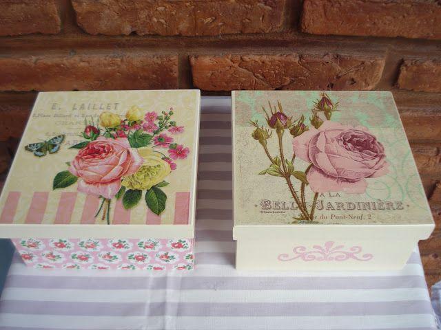 """Naranja y Fucsia: Cajas de Té """"Rosas Vintage"""""""